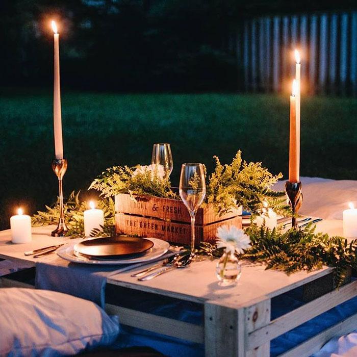 Cena romántica en casa San Valentín